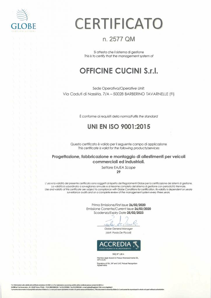 ISO 9001 Certificato di Qualità
